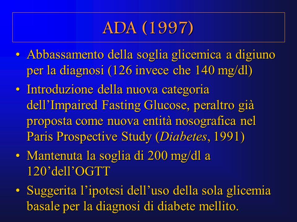 ADA (1997) Abbassamento della soglia glicemica a digiuno per la diagnosi (126 invece che 140 mg/dl)