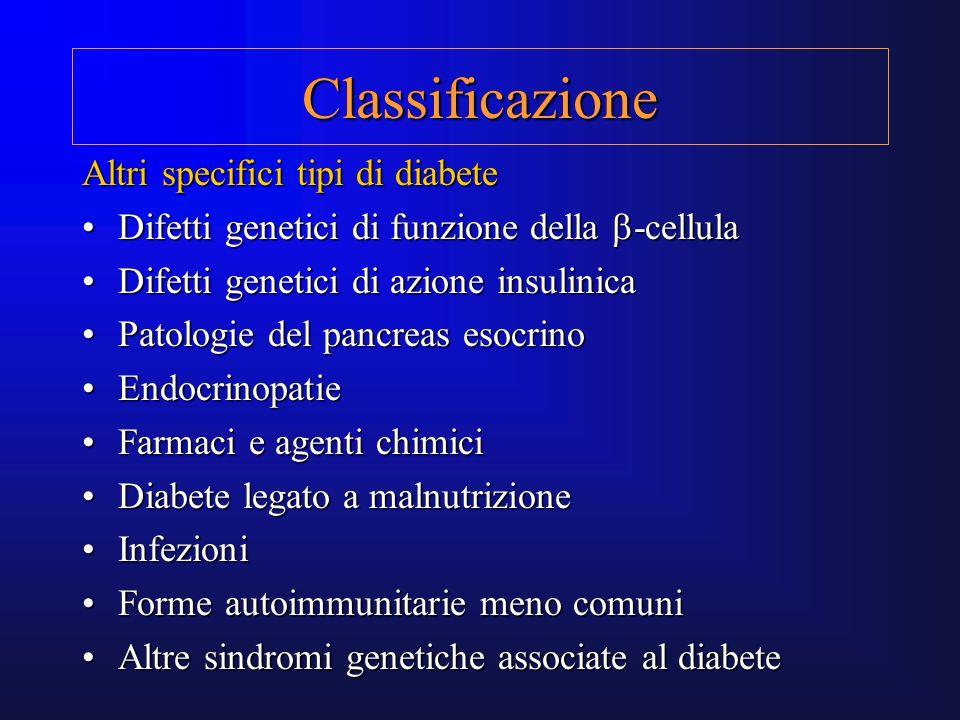 Classificazione Altri specifici tipi di diabete