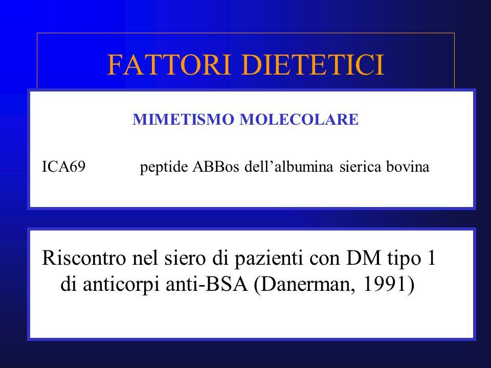 FATTORI DIETETICI MIMETISMO MOLECOLARE. ICA69 peptide ABBos dell'albumina sierica bovina.