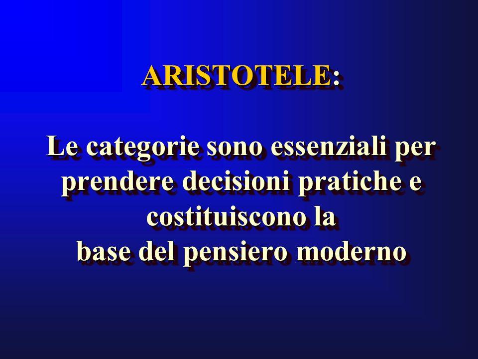 ARISTOTELE: Le categorie sono essenziali per prendere decisioni pratiche e costituiscono la base del pensiero moderno