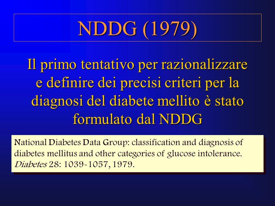 NDDG (1979) Il primo tentativo per razionalizzare e definire dei precisi criteri per la diagnosi del diabete mellito è stato formulato dal NDDG.