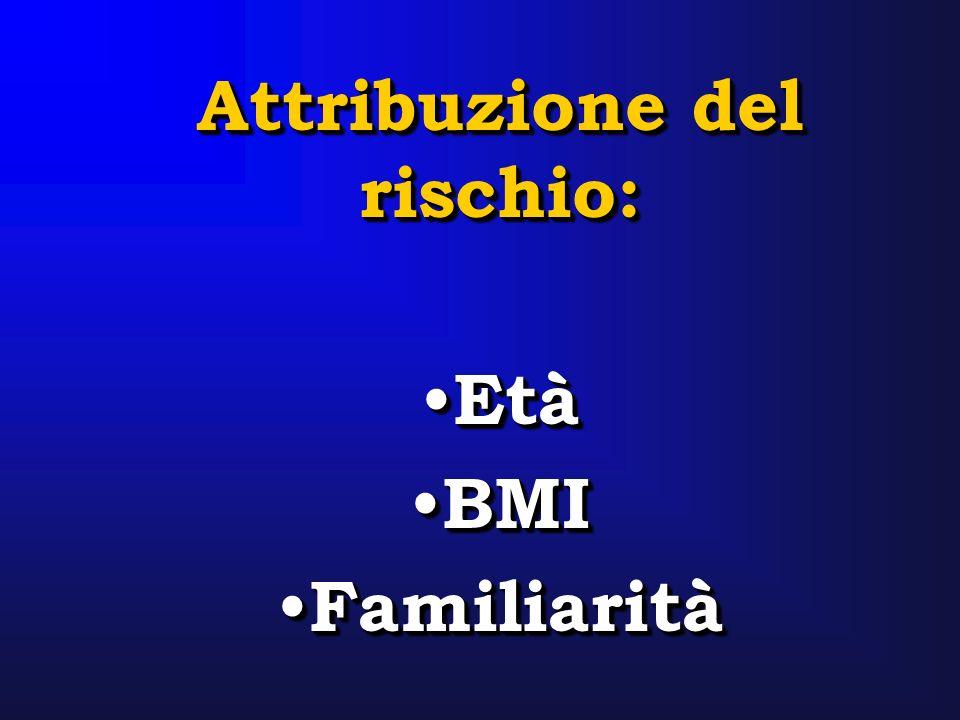 Attribuzione del rischio: Età BMI Familiarità