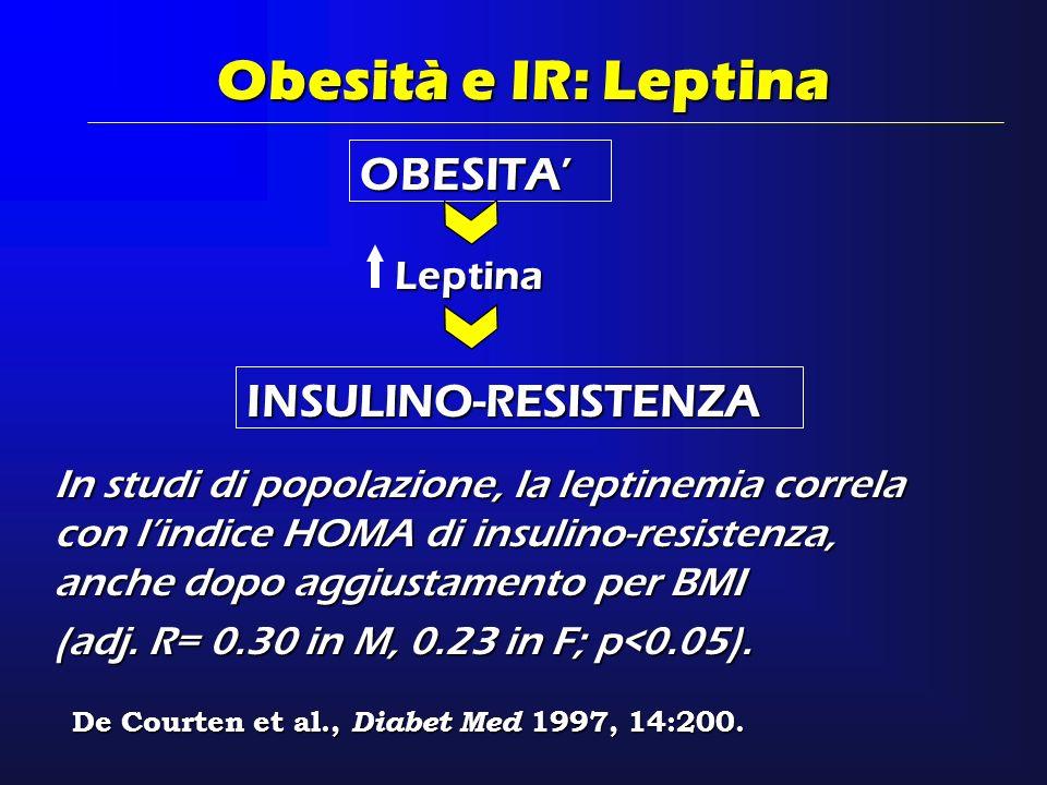 Obesità e IR: Leptina OBESITA' INSULINO-RESISTENZA Leptina