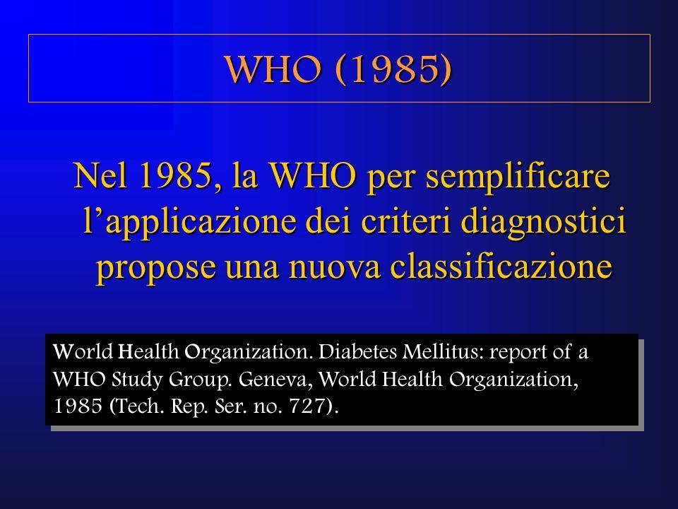 WHO (1985)Nel 1985, la WHO per semplificare l'applicazione dei criteri diagnostici propose una nuova classificazione.