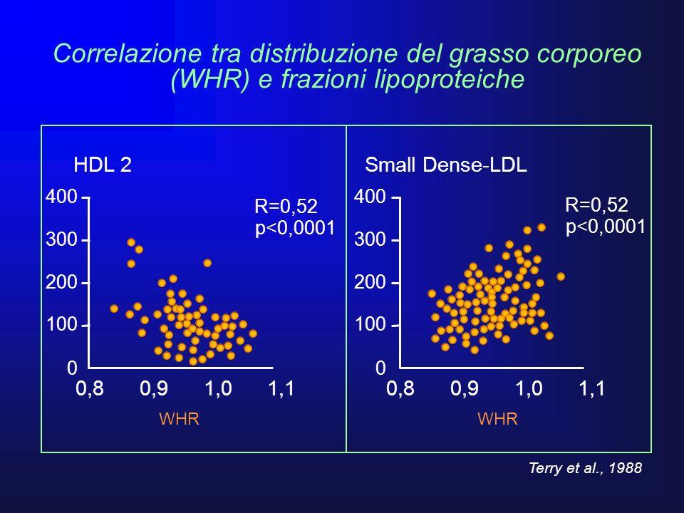 Correlazione tra distribuzione del grasso corporeo (WHR) e frazioni lipoproteiche