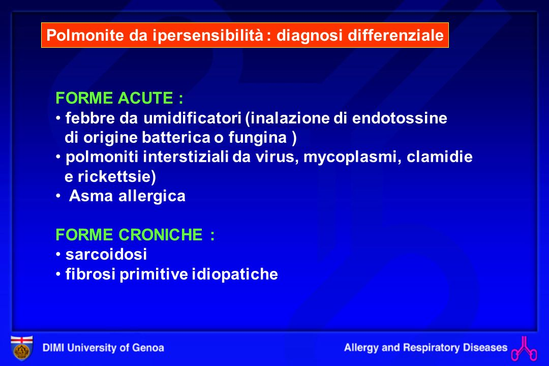 Polmonite da ipersensibilità : diagnosi differenziale