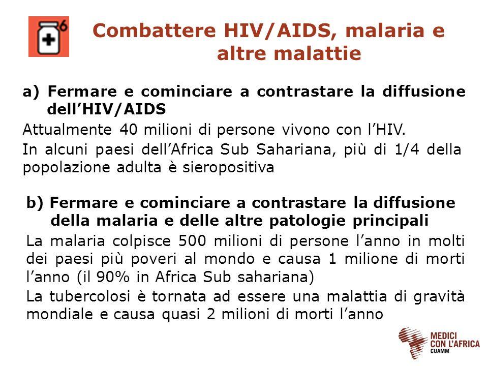 Combattere HIV/AIDS, malaria e altre malattie
