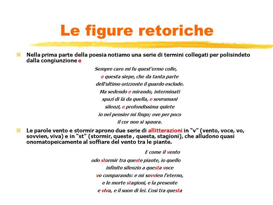 Le figure retoriche Nella prima parte della poesia notiamo una serie di termini collegati per polisindeto dalla congiunzione e.