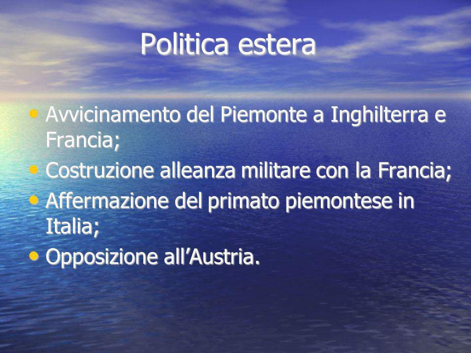 Politica estera Avvicinamento del Piemonte a Inghilterra e Francia;