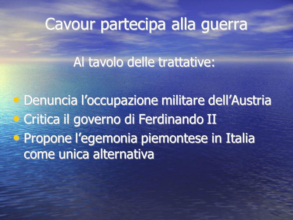 Cavour partecipa alla guerra