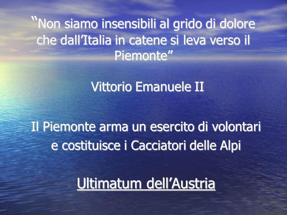 Non siamo insensibili al grido di dolore che dall'Italia in catene si leva verso il Piemonte Vittorio Emanuele II