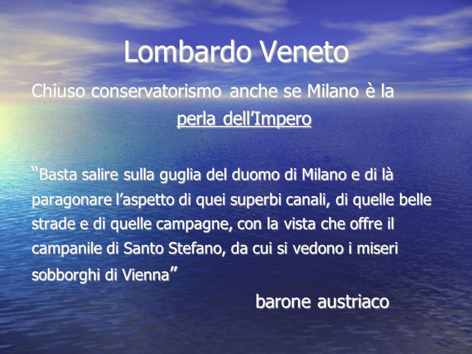 Lombardo Veneto Chiuso conservatorismo anche se Milano è la