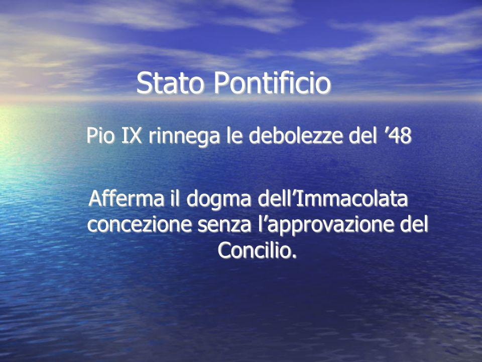 Pio IX rinnega le debolezze del '48