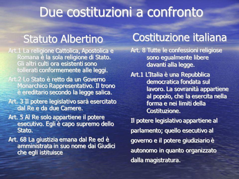 Due costituzioni a confronto