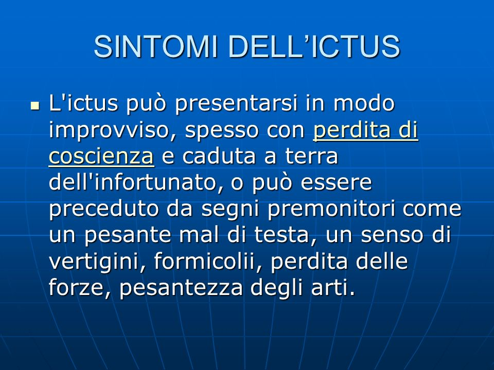 SINTOMI DELL'ICTUS