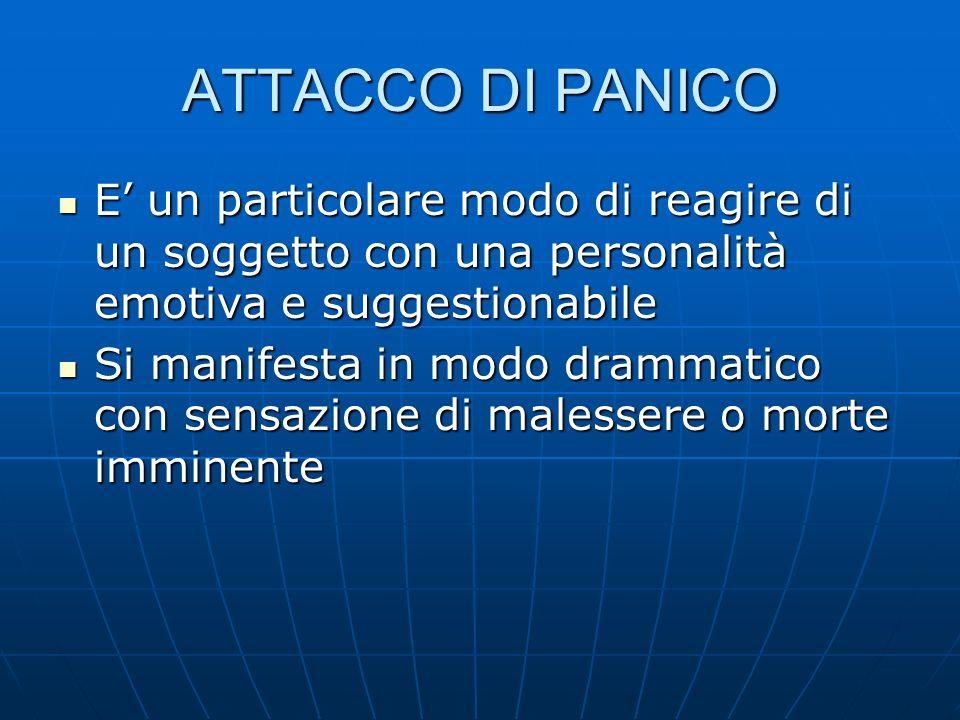 ATTACCO DI PANICO E' un particolare modo di reagire di un soggetto con una personalità emotiva e suggestionabile.