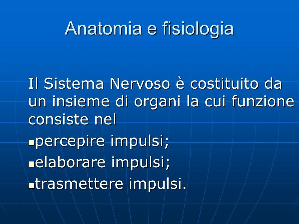 Anatomia e fisiologia Il Sistema Nervoso è costituito da un insieme di organi la cui funzione consiste nel.