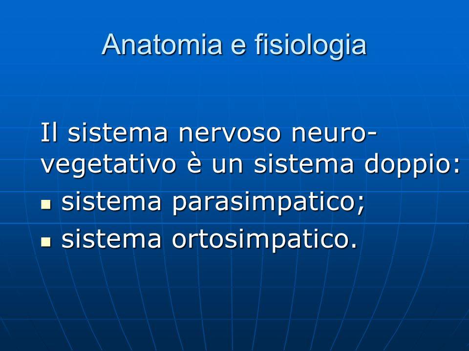 Anatomia e fisiologia Il sistema nervoso neuro-vegetativo è un sistema doppio: sistema parasimpatico;