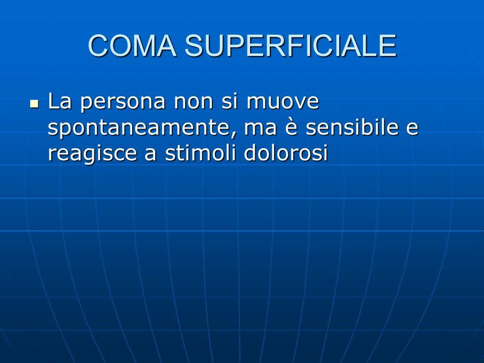 COMA SUPERFICIALE La persona non si muove spontaneamente, ma è sensibile e reagisce a stimoli dolorosi.
