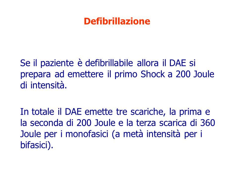 Defibrillazione Se il paziente è defibrillabile allora il DAE si prepara ad emettere il primo Shock a 200 Joule di intensità.
