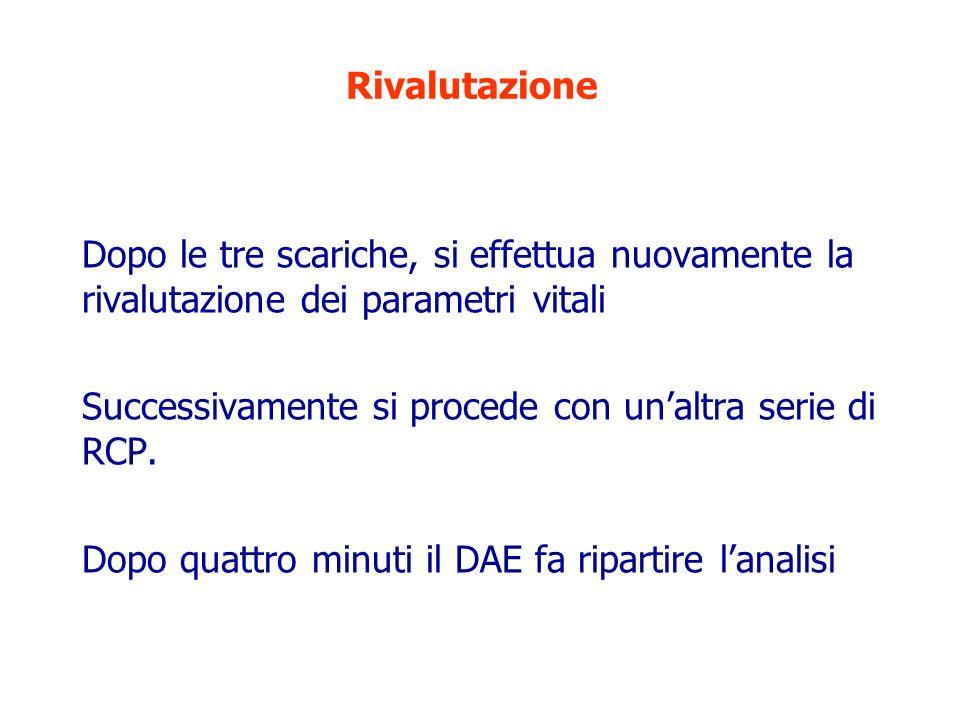 RivalutazioneDopo le tre scariche, si effettua nuovamente la rivalutazione dei parametri vitali.