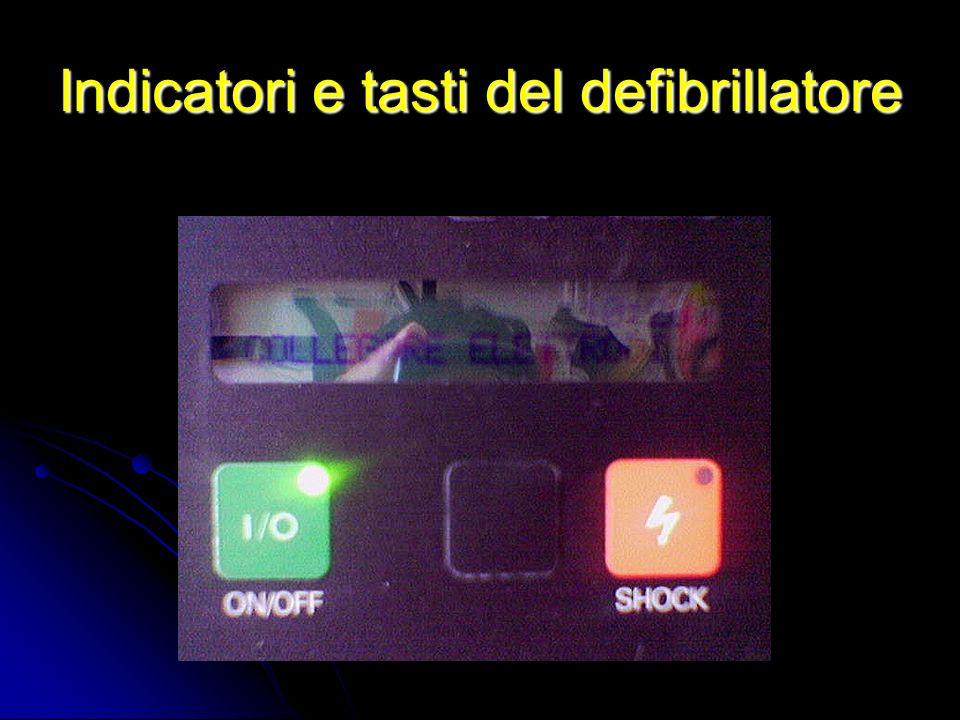 Indicatori e tasti del defibrillatore