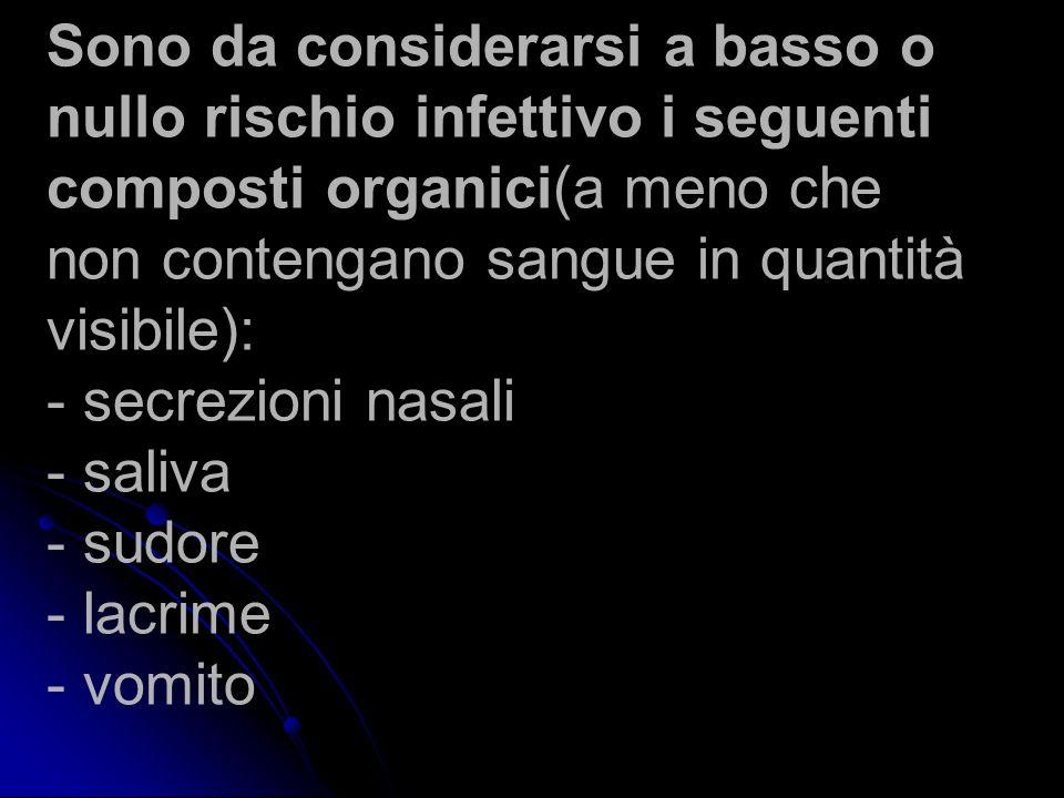Sono da considerarsi a basso o nullo rischio infettivo i seguenti composti organici(a meno che non contengano sangue in quantità visibile): - secrezioni nasali - saliva - sudore - lacrime - vomito