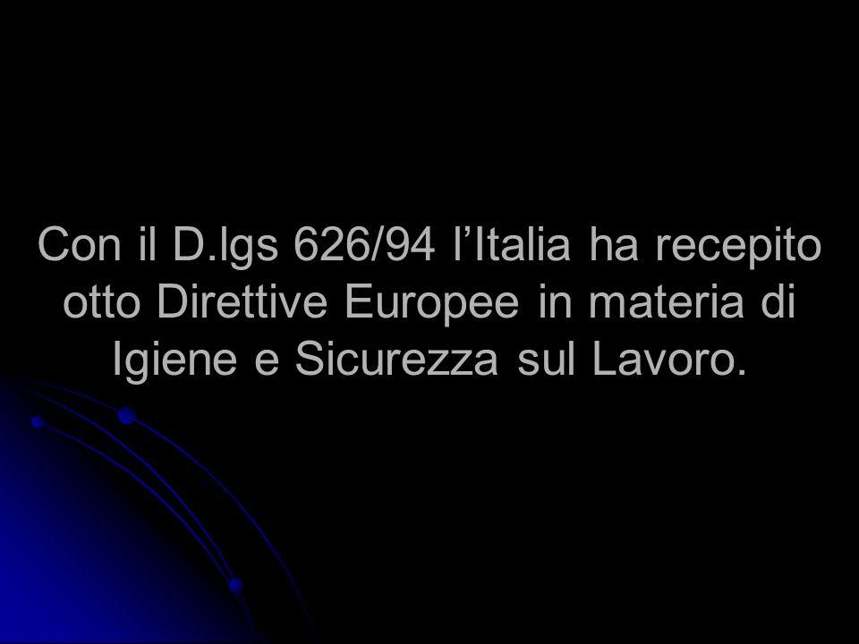 Con il D.lgs 626/94 l'Italia ha recepito otto Direttive Europee in materia di Igiene e Sicurezza sul Lavoro.