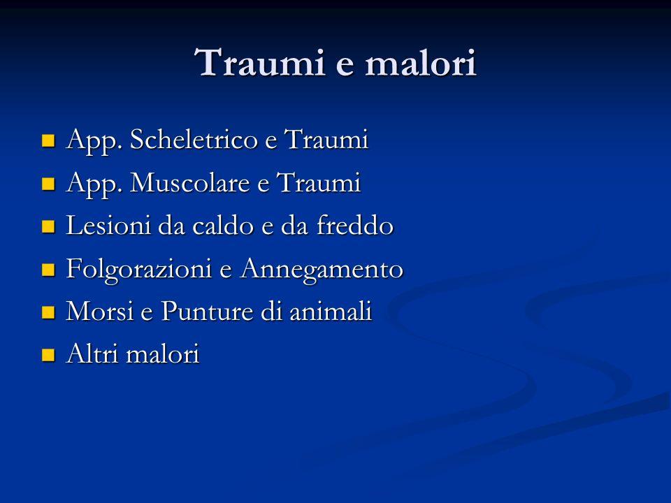Traumi e malori App. Scheletrico e Traumi App. Muscolare e Traumi