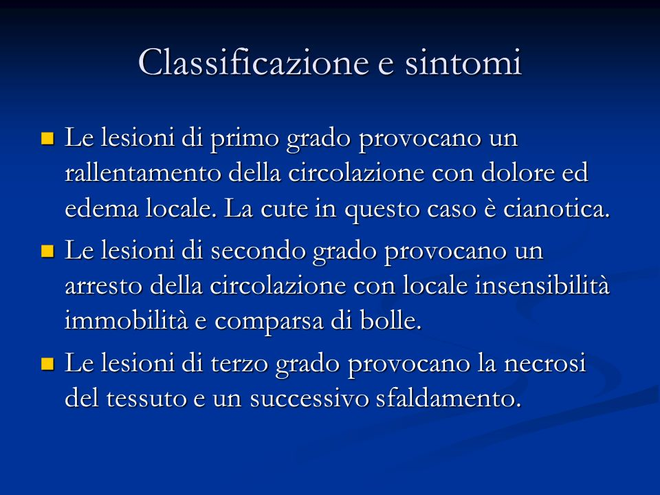 Classificazione e sintomi