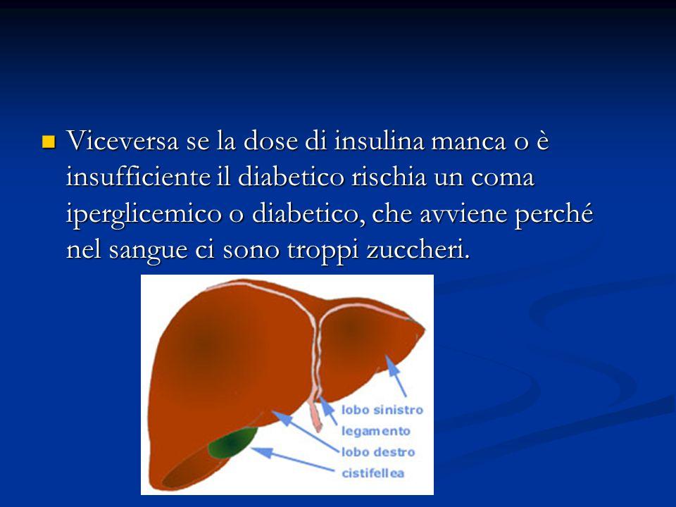 Viceversa se la dose di insulina manca o è insufficiente il diabetico rischia un coma iperglicemico o diabetico, che avviene perché nel sangue ci sono troppi zuccheri.