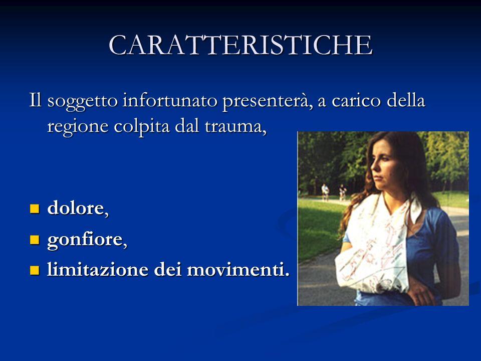 CARATTERISTICHE Il soggetto infortunato presenterà, a carico della regione colpita dal trauma, dolore,