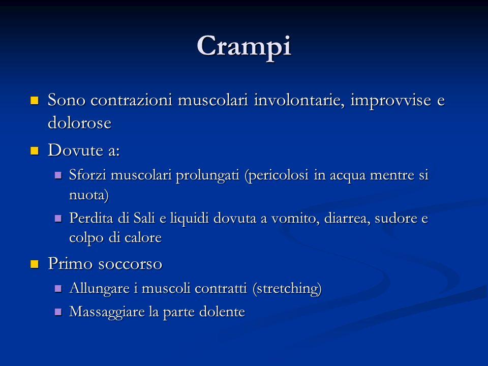 Crampi Sono contrazioni muscolari involontarie, improvvise e dolorose