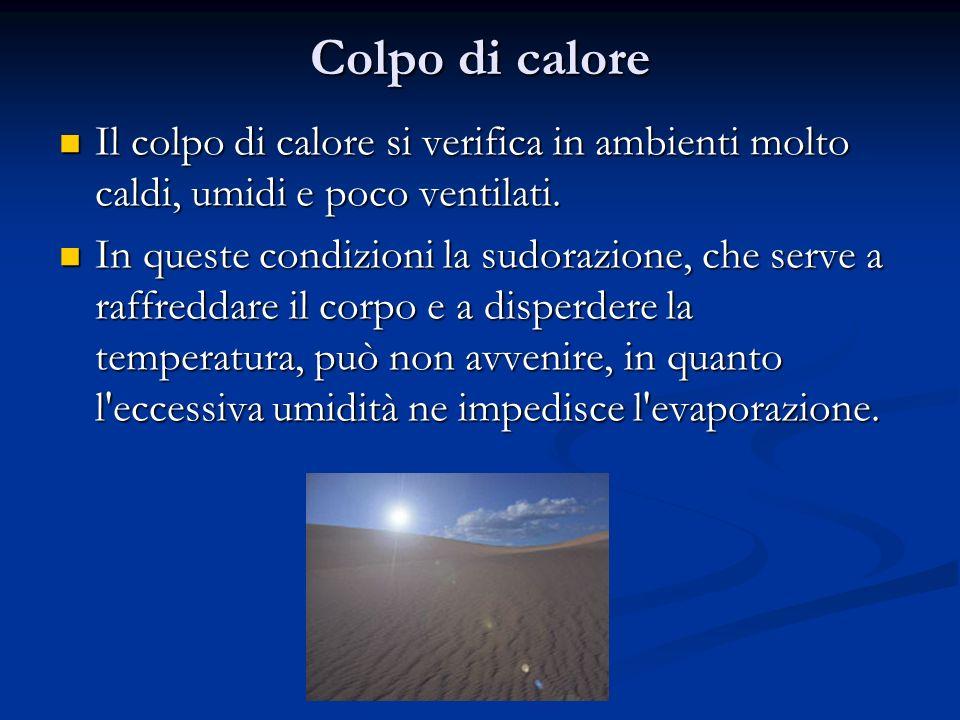 Colpo di calore Il colpo di calore si verifica in ambienti molto caldi, umidi e poco ventilati.