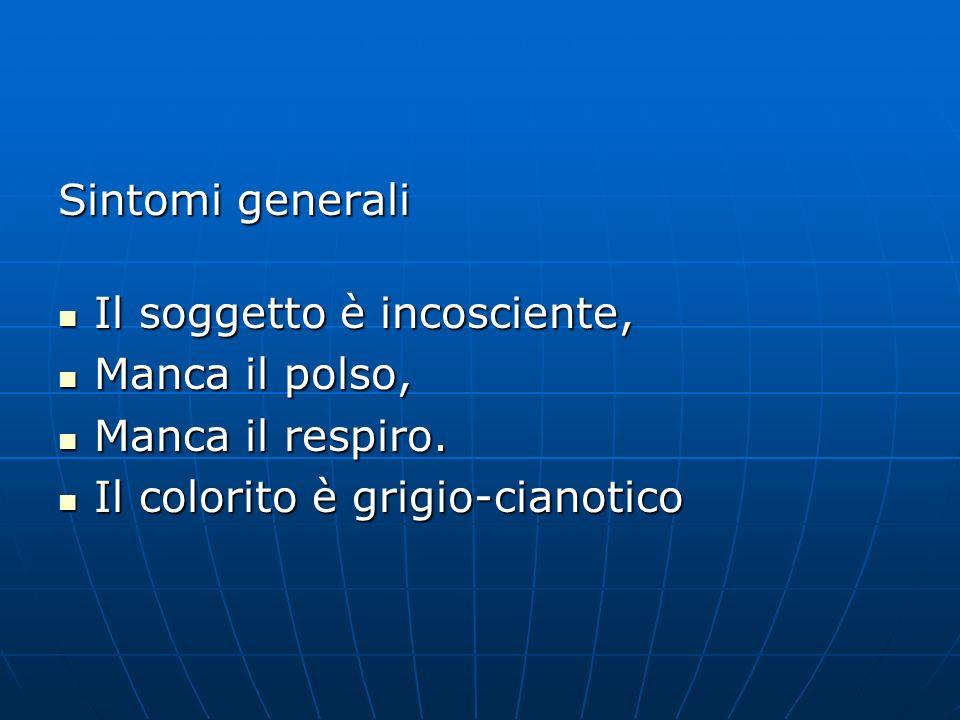 Sintomi generali Il soggetto è incosciente, Manca il polso, Manca il respiro.
