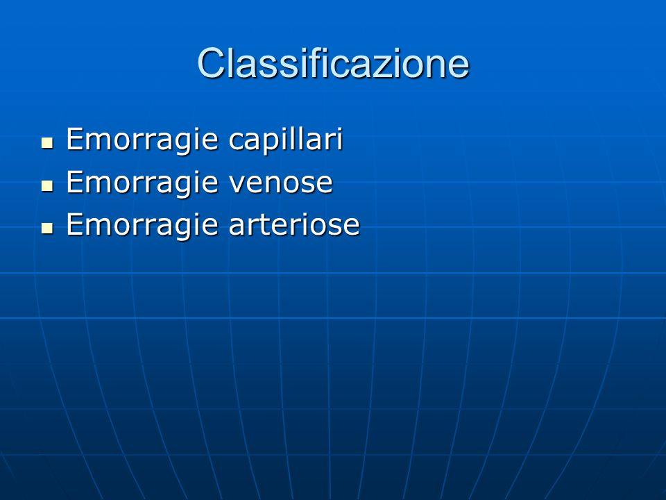 Classificazione Emorragie capillari Emorragie venose