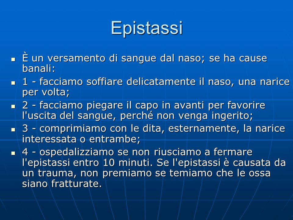 Epistassi È un versamento di sangue dal naso; se ha cause banali: