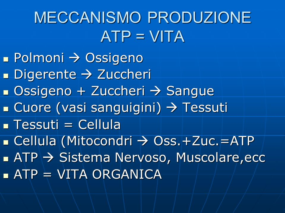 MECCANISMO PRODUZIONE ATP = VITA