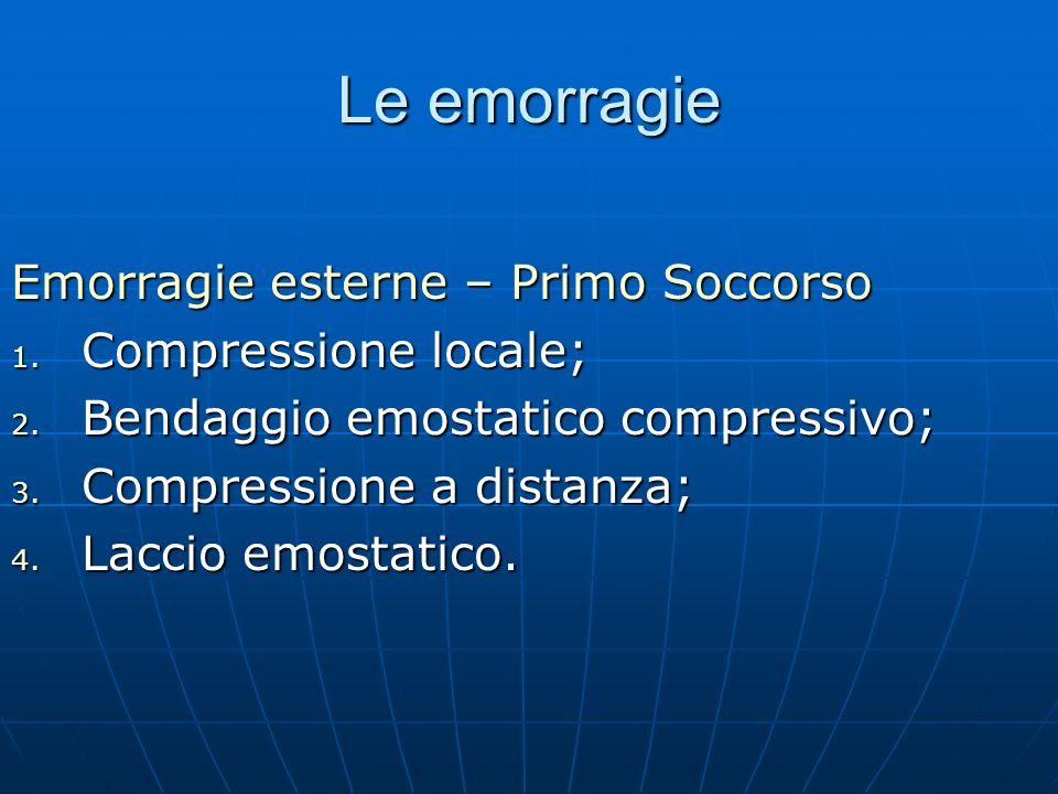 Le emorragie Emorragie esterne – Primo Soccorso Compressione locale;