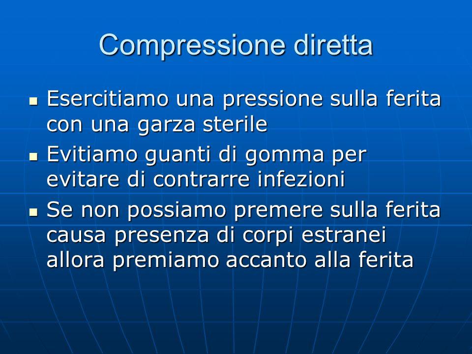 Compressione diretta Esercitiamo una pressione sulla ferita con una garza sterile. Evitiamo guanti di gomma per evitare di contrarre infezioni.