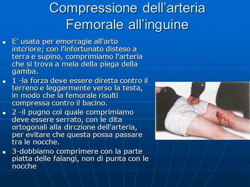 Compressione dell'arteria Femorale all'inguine