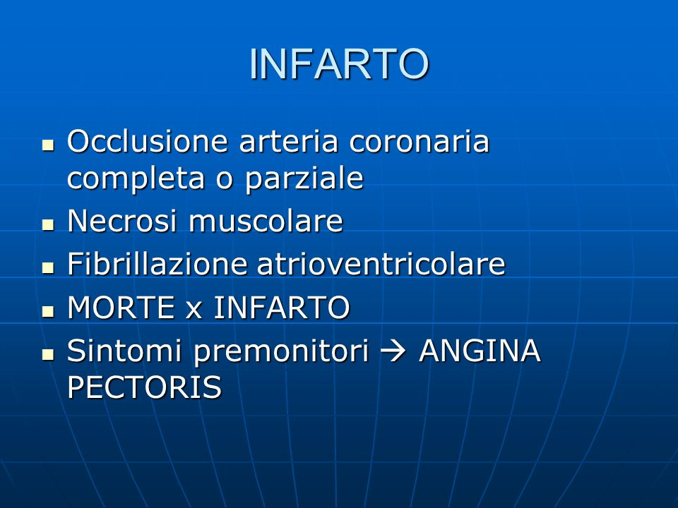 INFARTO Occlusione arteria coronaria completa o parziale