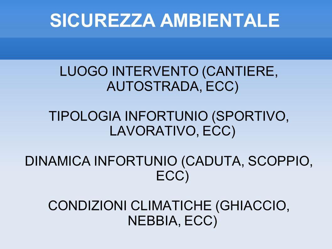 SICUREZZA AMBIENTALE LUOGO INTERVENTO (CANTIERE, AUTOSTRADA, ECC)