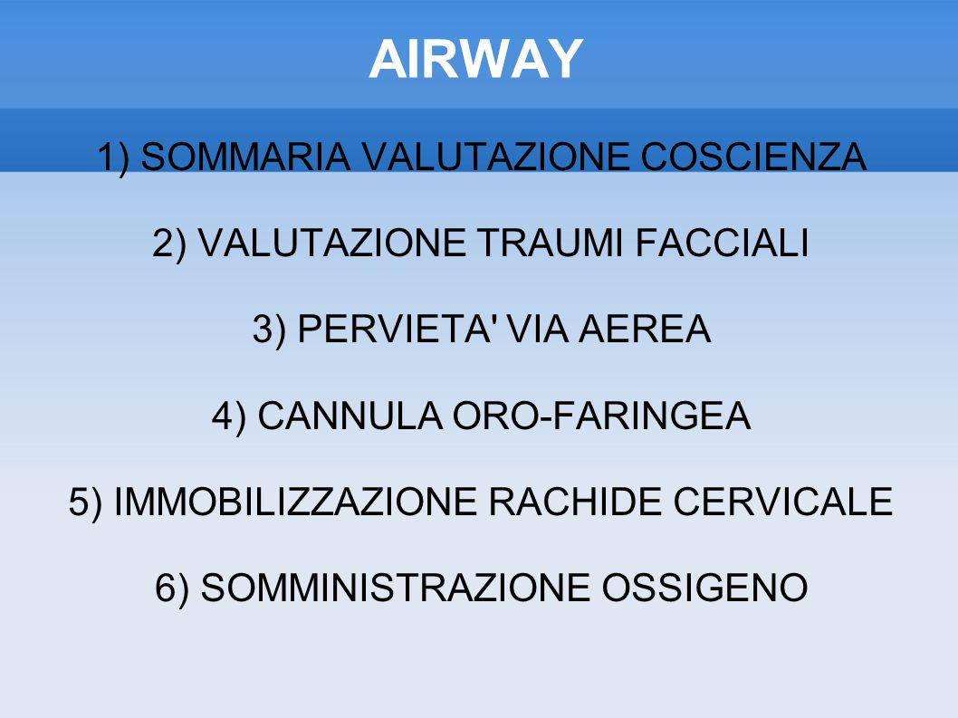 AIRWAY 1) SOMMARIA VALUTAZIONE COSCIENZA
