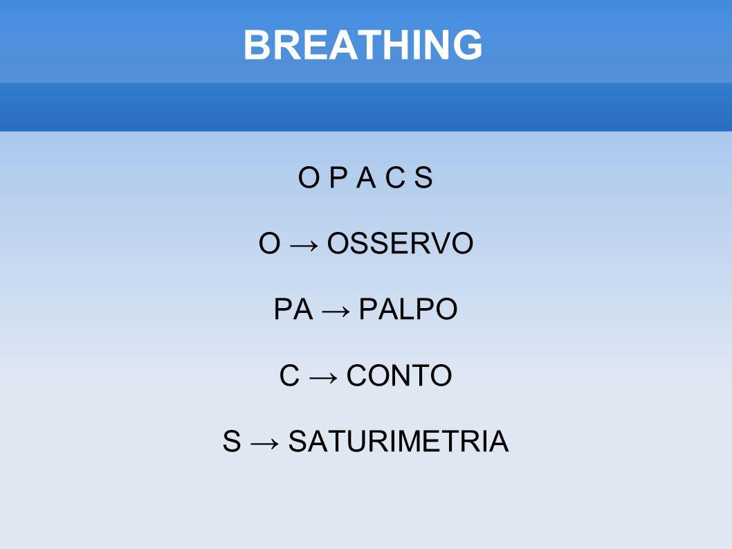 O P A C S O → OSSERVO PA → PALPO C → CONTO S → SATURIMETRIA