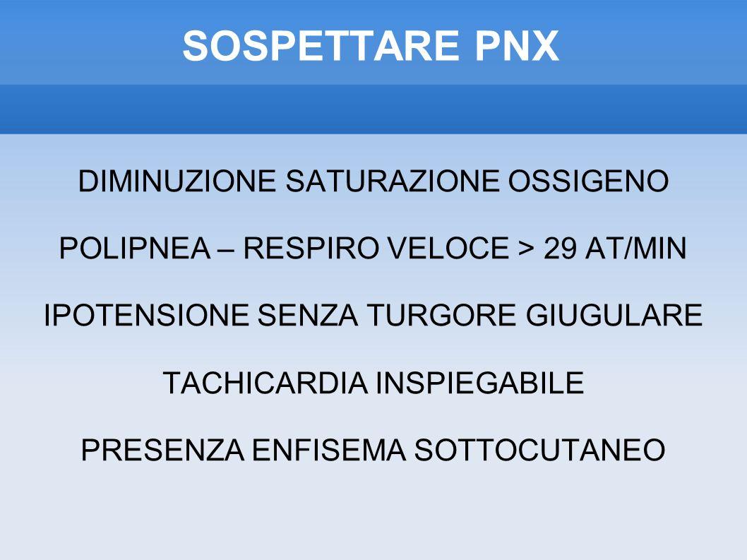 SOSPETTARE PNX DIMINUZIONE SATURAZIONE OSSIGENO