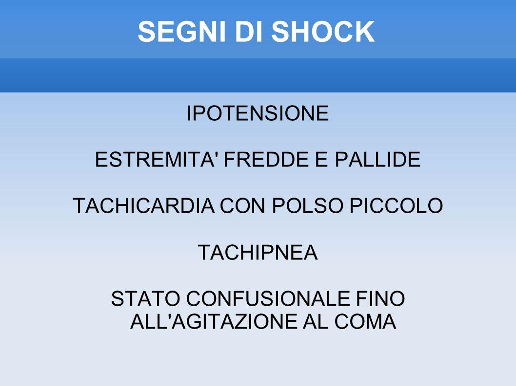 SEGNI DI SHOCK IPOTENSIONE ESTREMITA FREDDE E PALLIDE