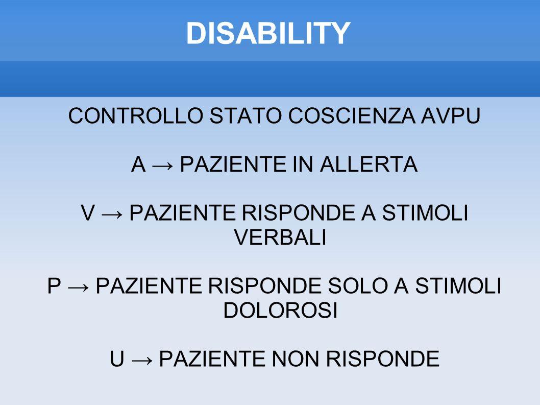 DISABILITY CONTROLLO STATO COSCIENZA AVPU A → PAZIENTE IN ALLERTA