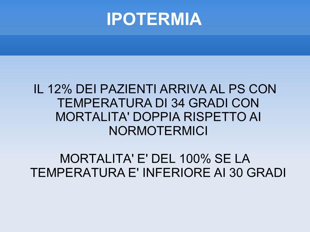 MORTALITA E DEL 100% SE LA TEMPERATURA E INFERIORE AI 30 GRADI