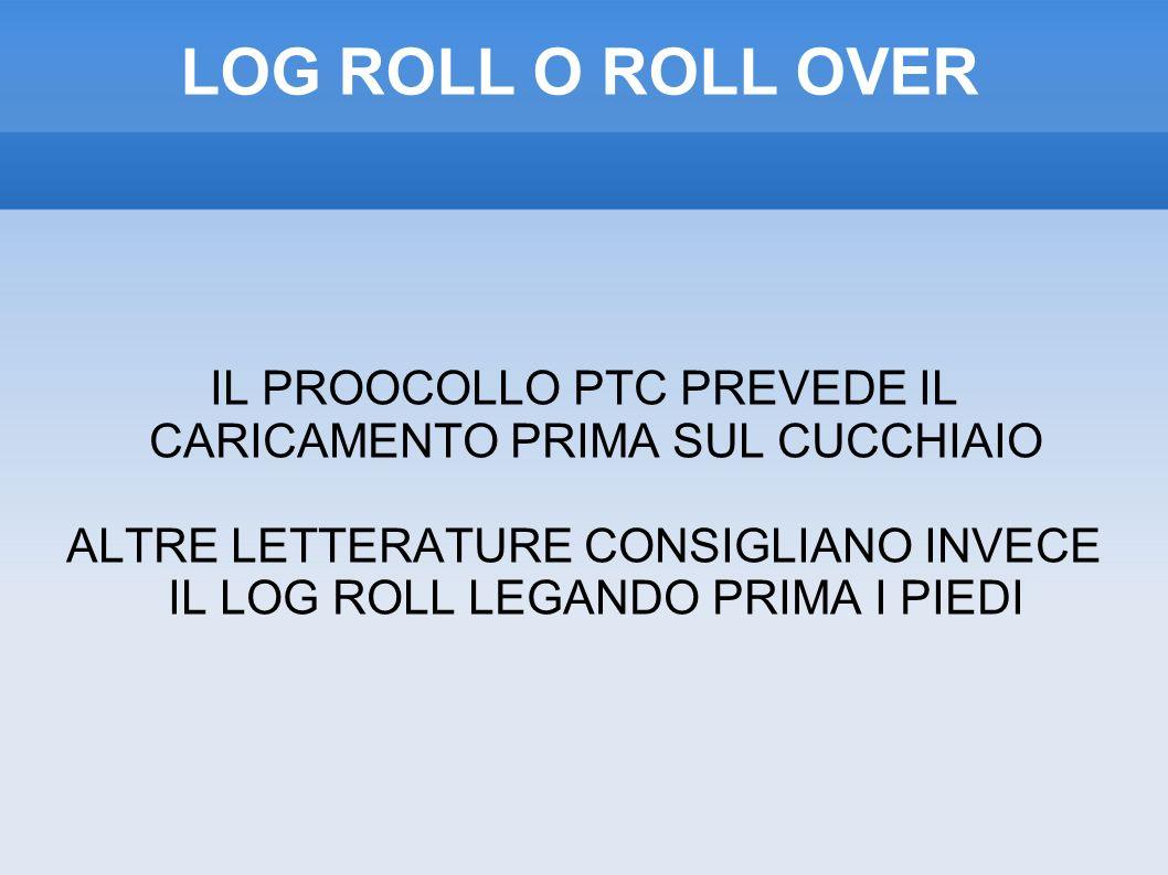 LOG ROLL O ROLL OVER IL PROOCOLLO PTC PREVEDE IL CARICAMENTO PRIMA SUL CUCCHIAIO.